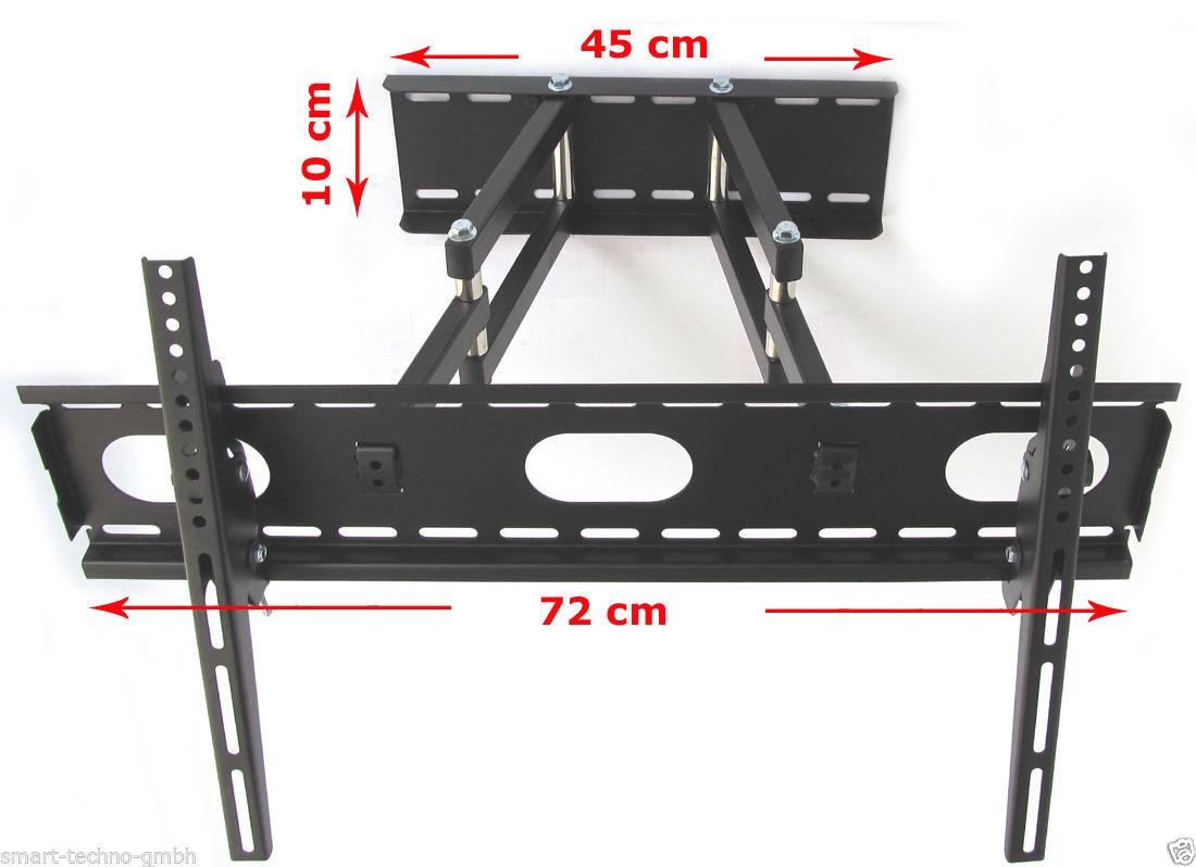 tv wandhalterung mit doppelarm ausziehbar schwenkbar farbe wei f r ger te 12 30 kg. Black Bedroom Furniture Sets. Home Design Ideas