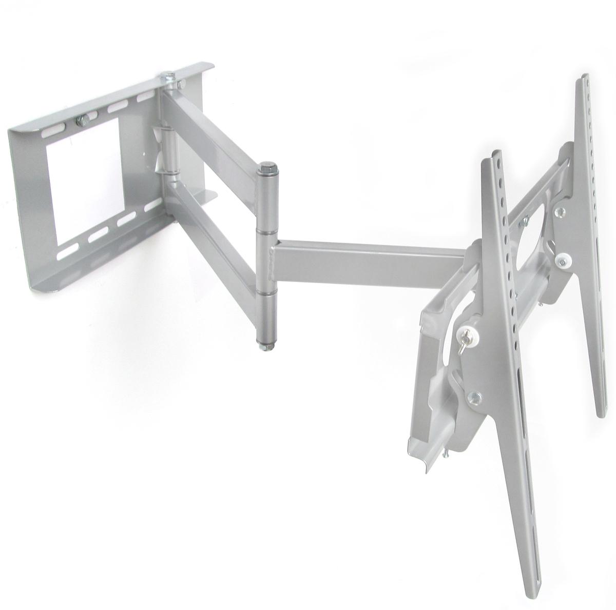 schwenkbare tv wandhalterung ausziehbar mit neigung farbe silber mit kabelkanal. Black Bedroom Furniture Sets. Home Design Ideas