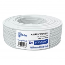 50m Lautsprecherkabel 2x1,5mm² CCA rechteckig weiß Metermarkierung