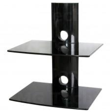 Media Player Konsole Regal Anlageträger zwei Glasplatten Wandhalterung schwarz
