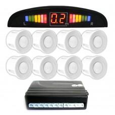 Einparkhilfe mit 8 A-Class-Sensoren: 4 vorne und 4 hinten weiss LED-Display