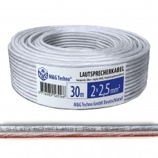 30m Lautsprecherkabel 2x2,5mm² SPOFC Audio Transparent Metermarkierung