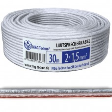 30m Lautsprecherkabel 2x1,5mm² SPOFC Audio Transparent Metermarkierung
