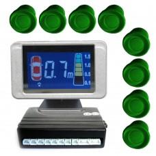 EINPARKHILFE 8 SENSOREN 4 vorne 4 hinten grün LCD Display