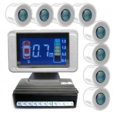 EINPARKHILFE 8 SENSOREN 4 vorne 4 hinten unlackiert LCD Display