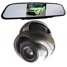 Rückfahrkamera drehbar 170 Grad Blickwinkel schwarz mit Rückspiegel im Monitor