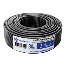 30m Lautsprecherkabel 2x4mm² OFC, echtes Kupfer rund schwarz, Boxenkabel