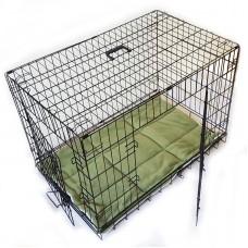 Transportbox faltbarer Hundekäfig 91x57x64cm Größe L schwarz mit Kissen