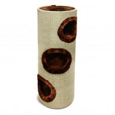 Kratztonne mit Natur Sisal und Plüsch ca· 100 cm mit Höhlen Farbe beige-braun
