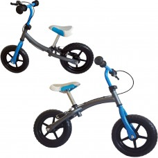 Laufrad  303cm 12 silbergrau-blau Doppelfunktionsrahmen Handbremse Lernlaufrad