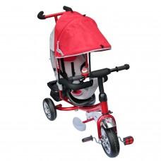 Dreirad  mit Dach Lenkstange Kinder 2-5 Jahre Fahrrad rot metallic