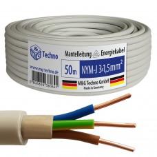 50m NYM-J 3x1,5 mm² Mantelleitung Elektro Strom Kabel Kupfer eindrähtig