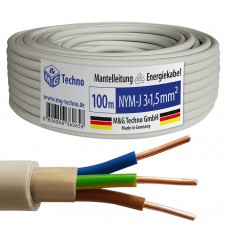 100m NYM-J 3x1,5 mm² Mantelleitung Elektro Strom Kabel OFC MADE IN GERMANY