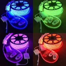 LED Streifen 50m, RGB, Bluetooth, 230V, 2 Kontroller, 2 Fernbedienungen, Klips