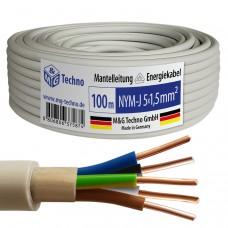 100m NYM-J 5x1,5 mm² Mantelleitung Elektro Strom Kabel Kupfer eindrähtig
