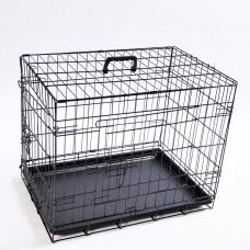 Transportbox faltbarer Hundekäfig 61x42x49cm S schwarz mit Kissen