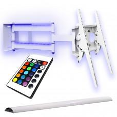 Schwenkbare TV-Wandhalterung mit Beleuchtung, ausziehbar, Farbe weiß