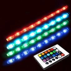 Hintergrundbeleuchtung mit 2 LED-Streifen, Fernsteuerung und Stromadapter