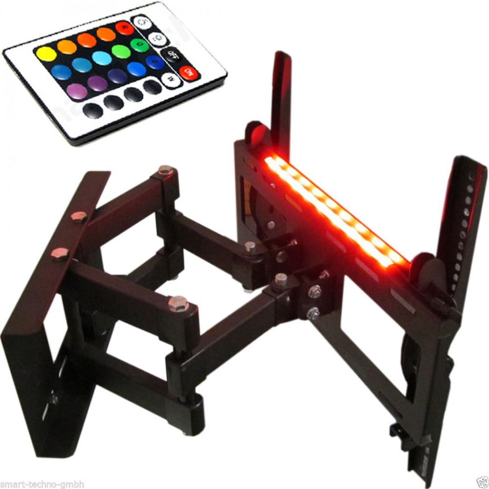 tv wandhalterung mit doppelarm ausziehbar schwenkbar mit beleuchtung f r ger te von 12 bis 30 kg. Black Bedroom Furniture Sets. Home Design Ideas