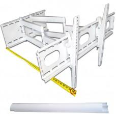 TV-Wandhalterung mit Doppelarm, ausziehbar, schwenkbar, für schwere Geräte von 20 bis 70 kg, Farbe weiß, mit Kabelkanal