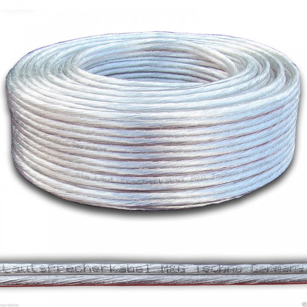 30m Lautsprecherkabel 14 AWG SPOFC, Silber + Kupfer rund ...