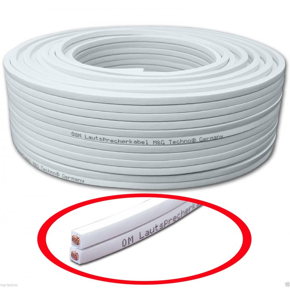 50m 2x1,5mm² Lautsprecherkabel weiß flexibel rechteckig Metermarkierung