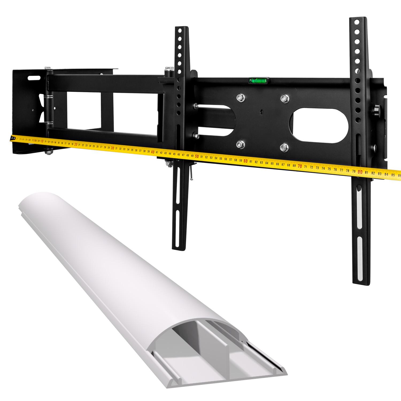 tv wandhalterung schwenkbar neigbar silber mit kabelkanal und beleuchtung ebay. Black Bedroom Furniture Sets. Home Design Ideas