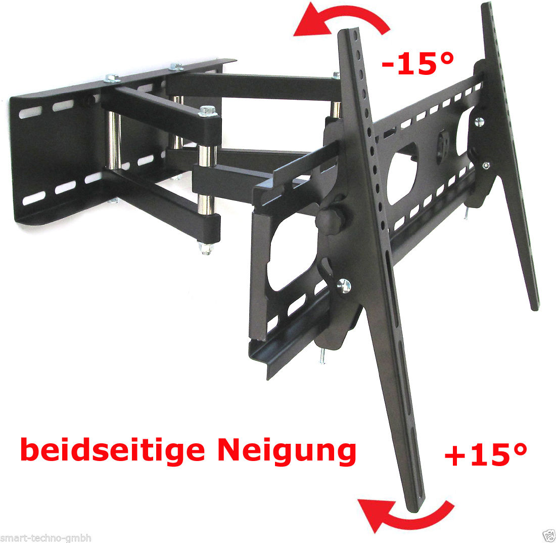 wandhalterung tv bis 55 schwenkbar doppelarm wandabstand 47cm kabelkanal ebay. Black Bedroom Furniture Sets. Home Design Ideas