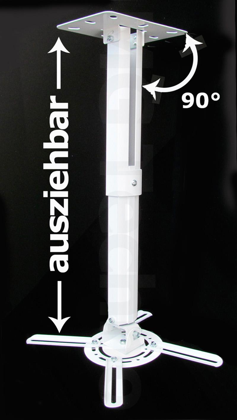 beamer projektor deckenhalterung drehbar 360 ausziehbar bis 50 cm wei ebay. Black Bedroom Furniture Sets. Home Design Ideas
