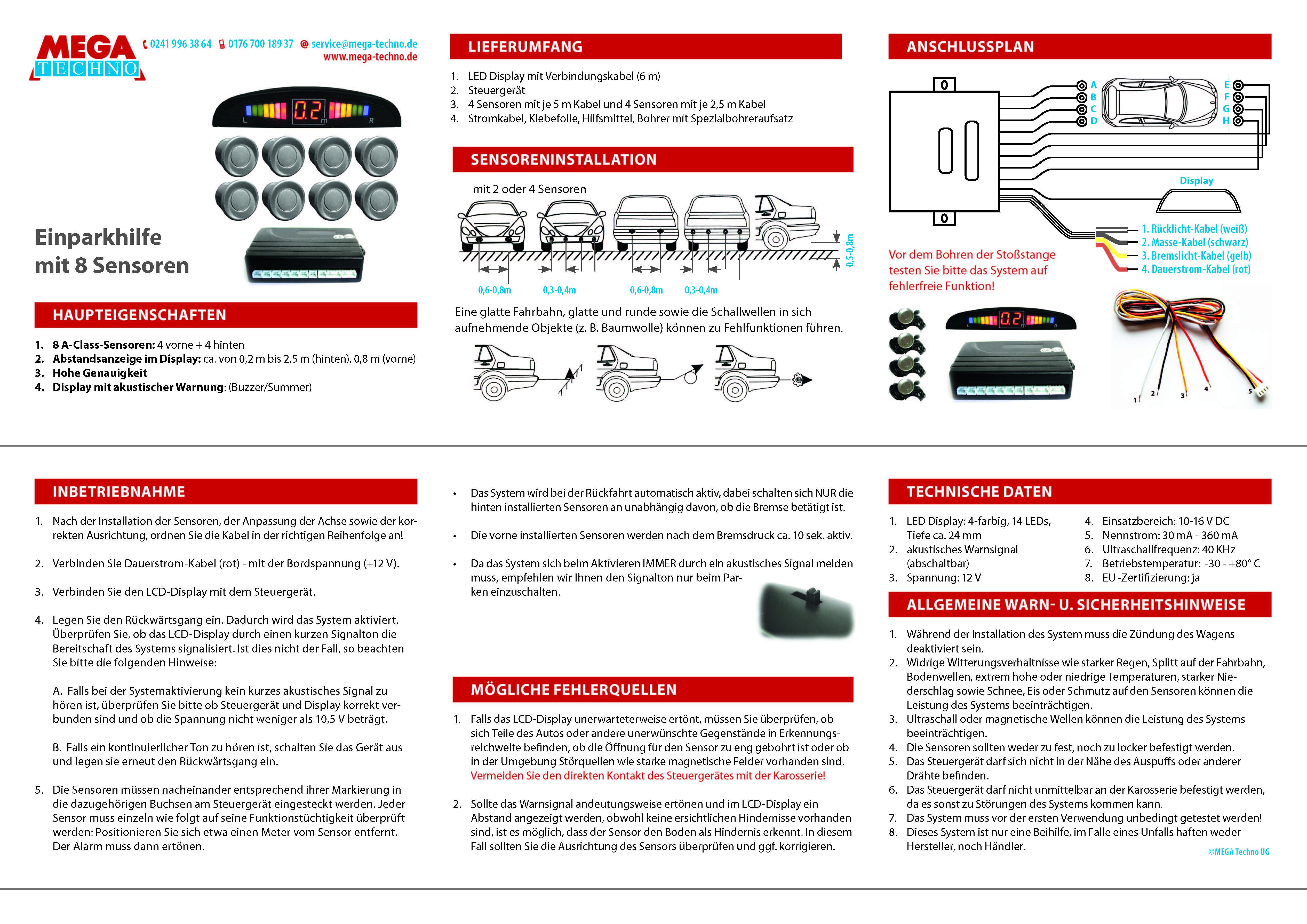 einparkhilfe mit 8 a class sensoren 4 vorne und 4 hinten unlackiert led display ebay. Black Bedroom Furniture Sets. Home Design Ideas