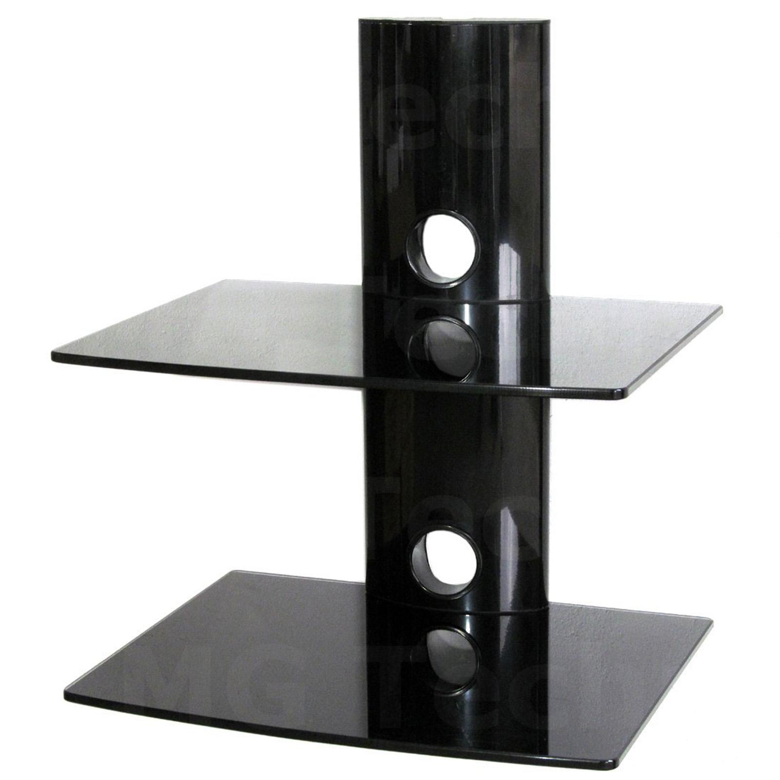media player konsole regal anlagetr ger zwei glasplatten wandhalterung schwarz ebay. Black Bedroom Furniture Sets. Home Design Ideas