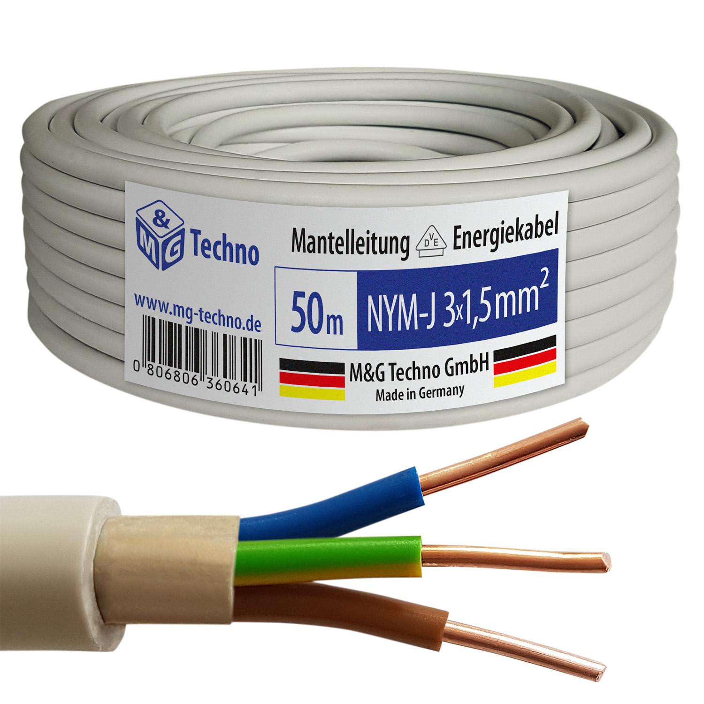 50m nym j 3x1 5 mm mantelleitung elektro strom kabel ofc made in germany ebay. Black Bedroom Furniture Sets. Home Design Ideas