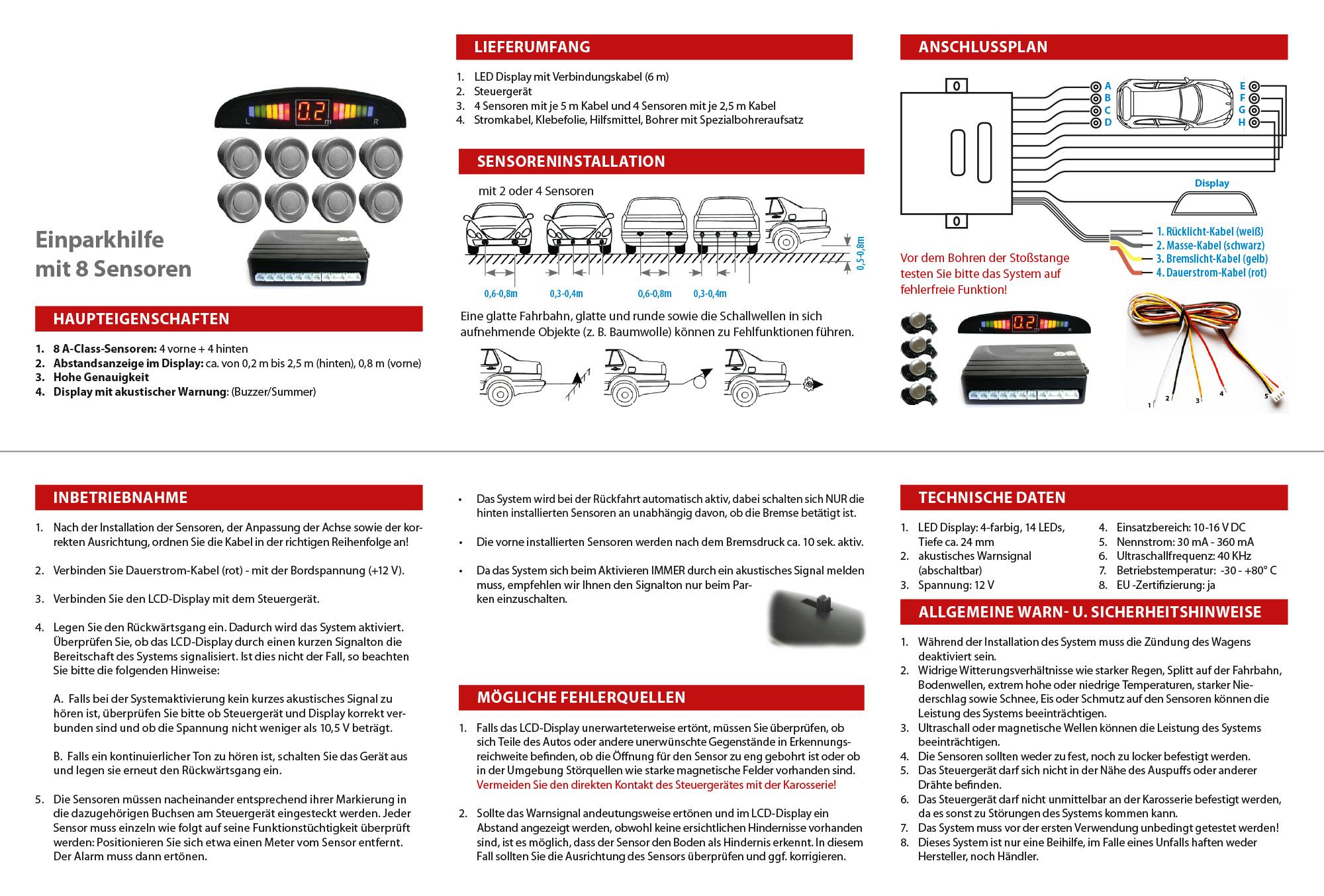 einparkhilfe parkhilfe 8 sensoren 4 vorne 4 hinten display buzzer ph8 j silber ebay. Black Bedroom Furniture Sets. Home Design Ideas